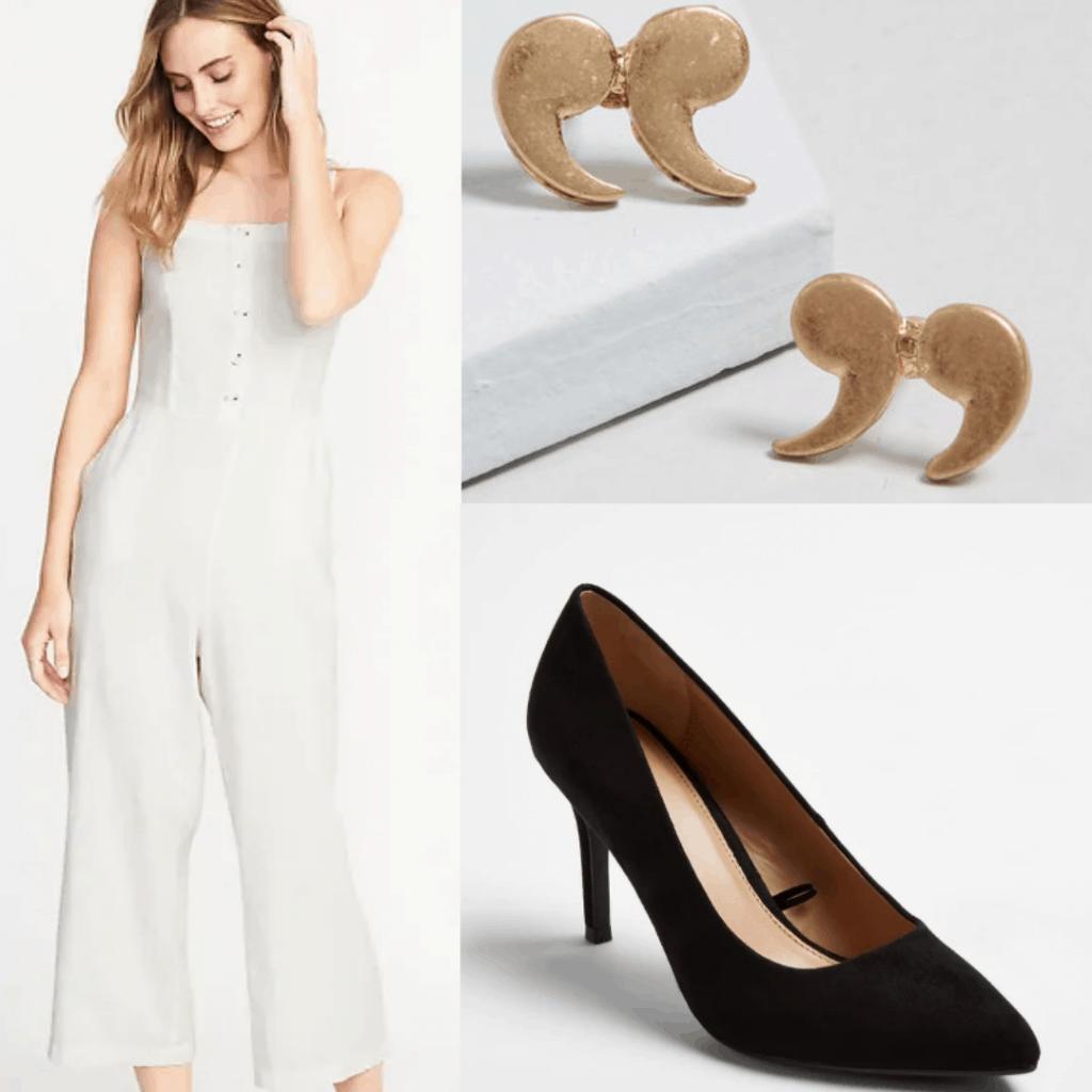 Jumpsuit, earrings, heels.