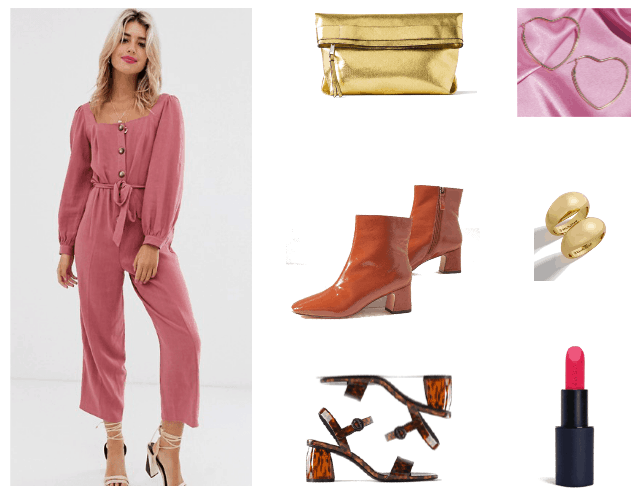 How to Wear Puff Sleeves Outfit #2 with puff sleeve jumpsuit, ankle boots, lipstick