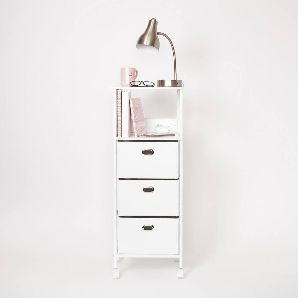 Dormify charging cart on wheels in white - dorm storage furniture