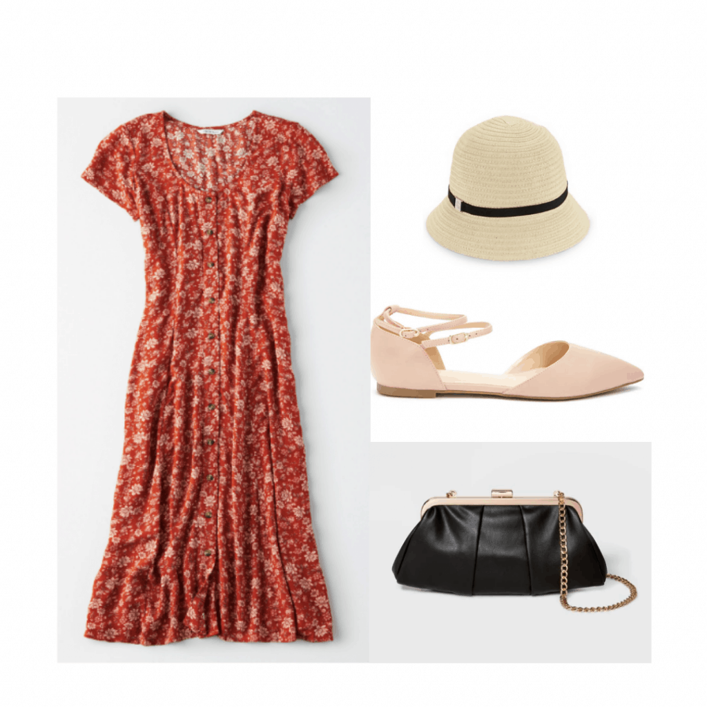 1920s style outfit with button front dress, cloche hat, ballet flats, simple purse