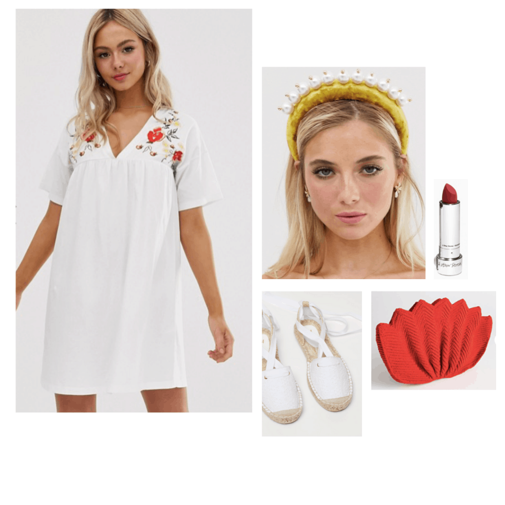 Midsommar fashion - Outfit inspired by the movie costumes with white embroidered dress, pearl headband, red clutch, white lace up espadrilles, red lipstick