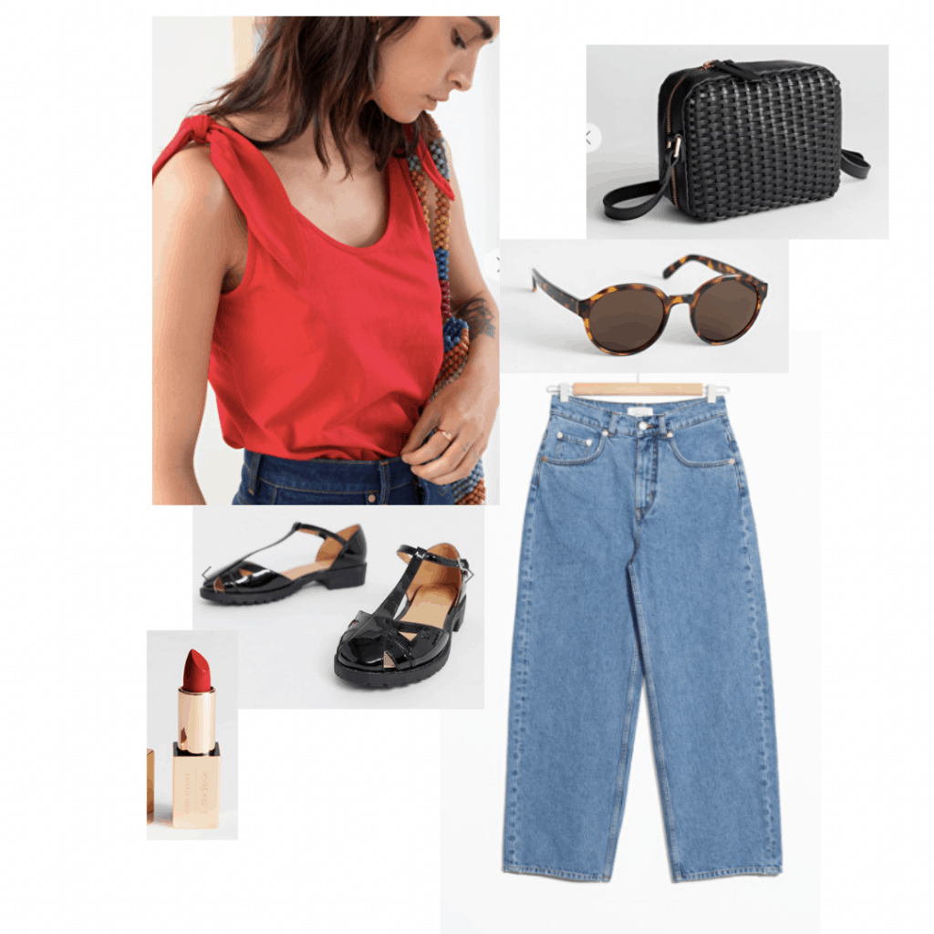 Reality bites fashion: Outfit inspired by Lelaina's style with blue mom jeans, red tank top, shiny oxfords, red lipstick, sunglasses