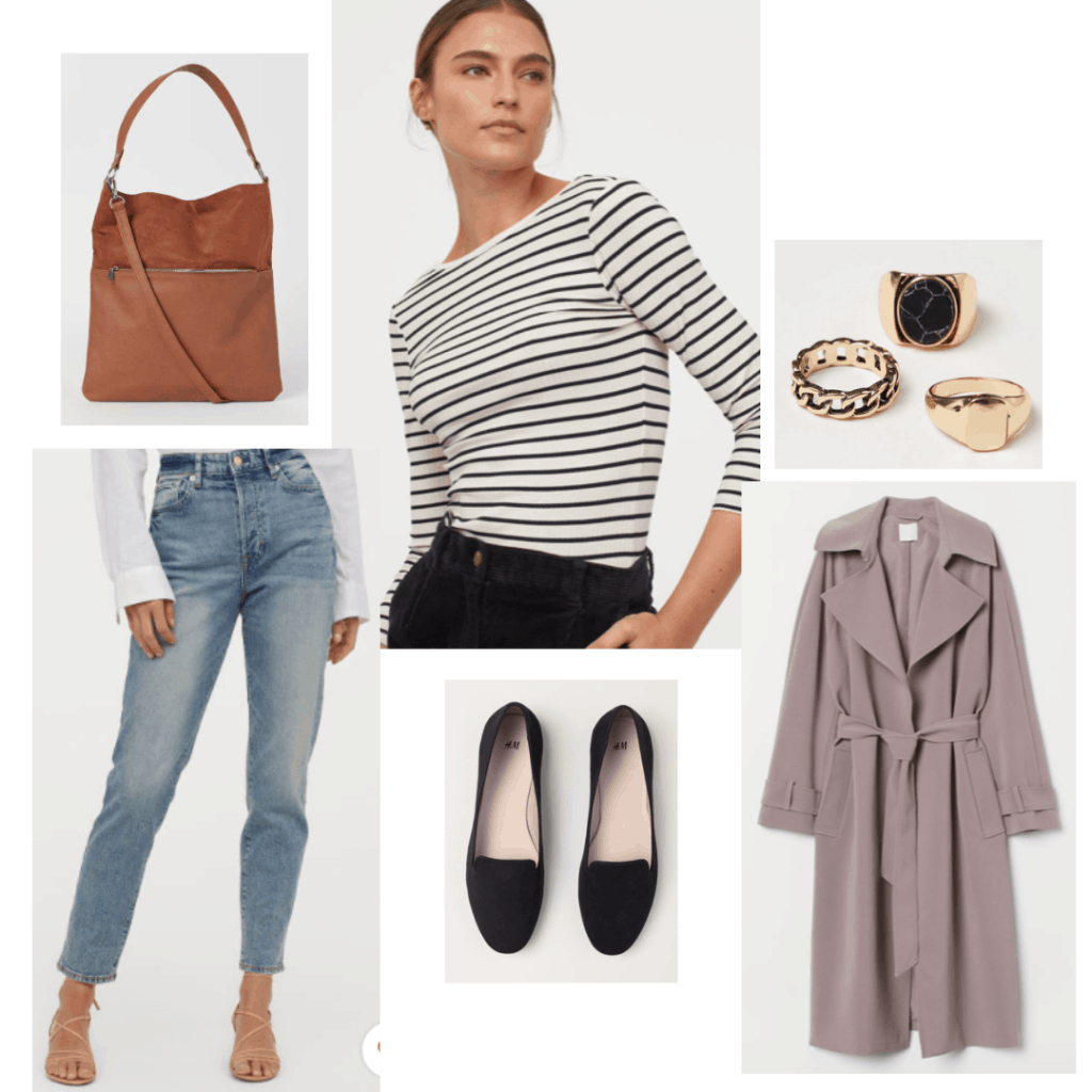 Cool girl outfit inspired by Amy Dunne in gone girl with black and white striped top, jeans, flats, slouchy trench coat