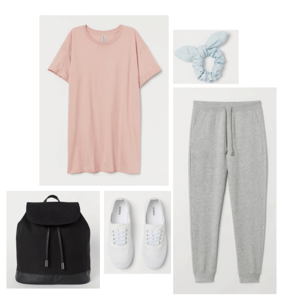 Midsommar fashion - outfit with pink tee shirt, gray sweat pants, black backpack, white sneakers, pastel scrunchie