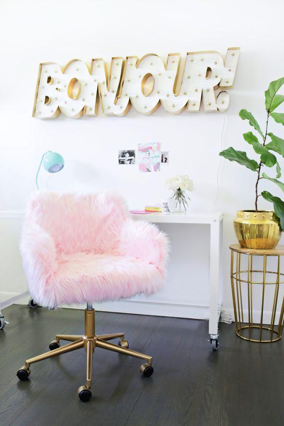 DIY seating - pink fluffy desk chair