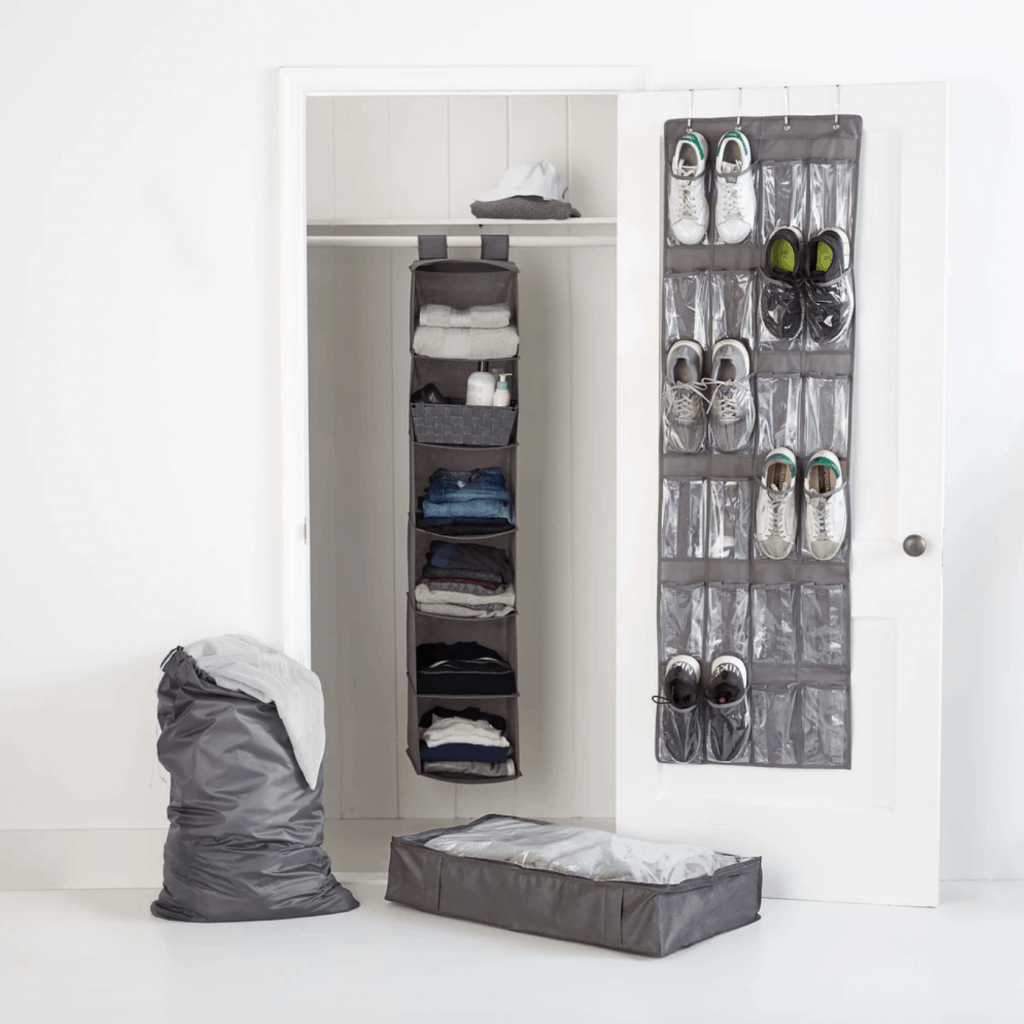 College dorm room storage - Four piece multiuse closet organizing system with shoe hanging, a vertical hanger for folded clothes, a clothing basket, and a canvas underbed organizer.