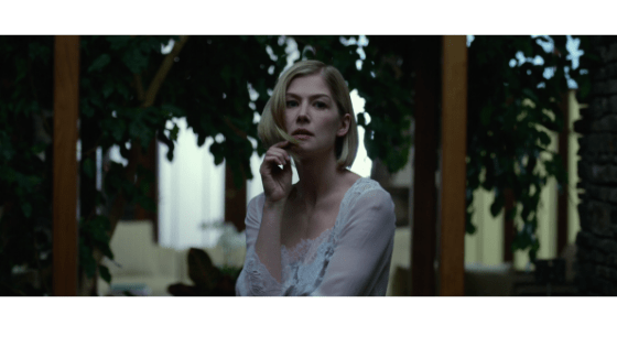 Amy Dunne in Gone Girl wearing a sheer nightgown