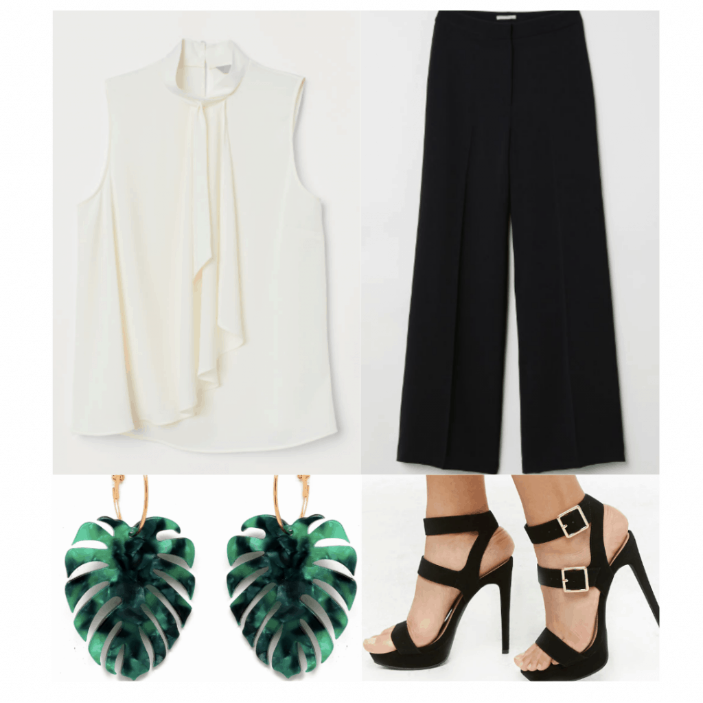 1920s fashion outfit with ruffle front sleeveless blouse, black cropped pants, black buckle heels, leaf earrings