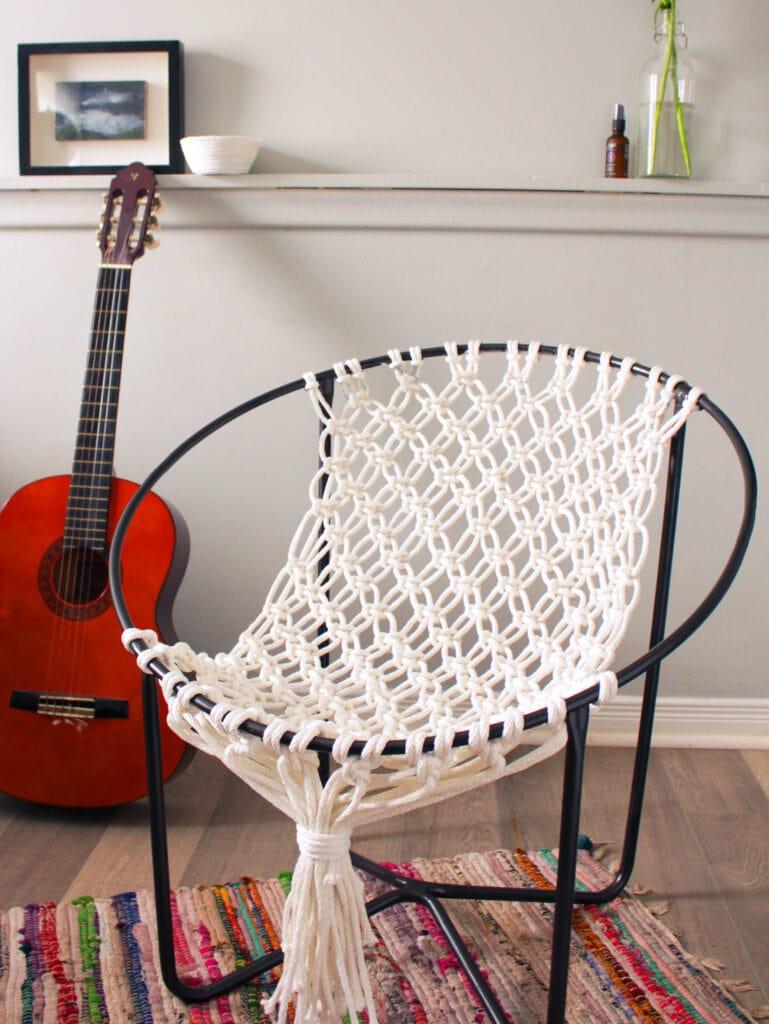 white macrame hoop chair