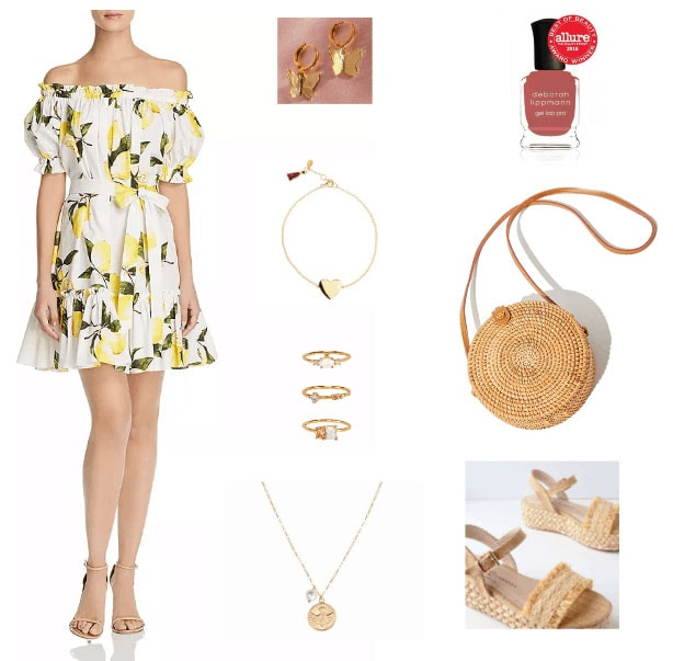 Lemon print dress outfit with off the shoulder dress, woven bag, nail polish, woven flats