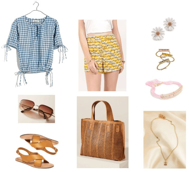 Lemon print shorts outfit with gingham top, brown sandals, camel tote bag, gold jewelry