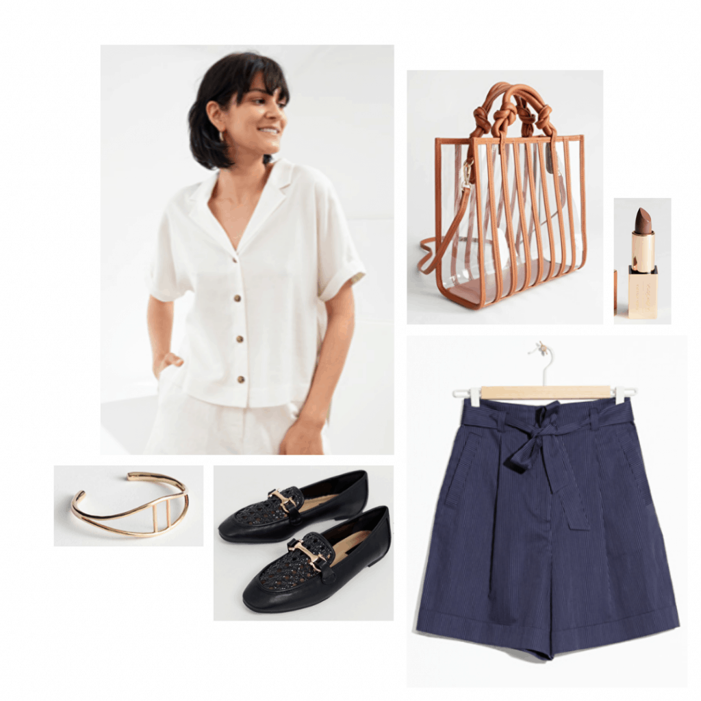 Reality bites inspired outfit with baggy shorts, button-down shirt, loafers, clear bag, lipstick