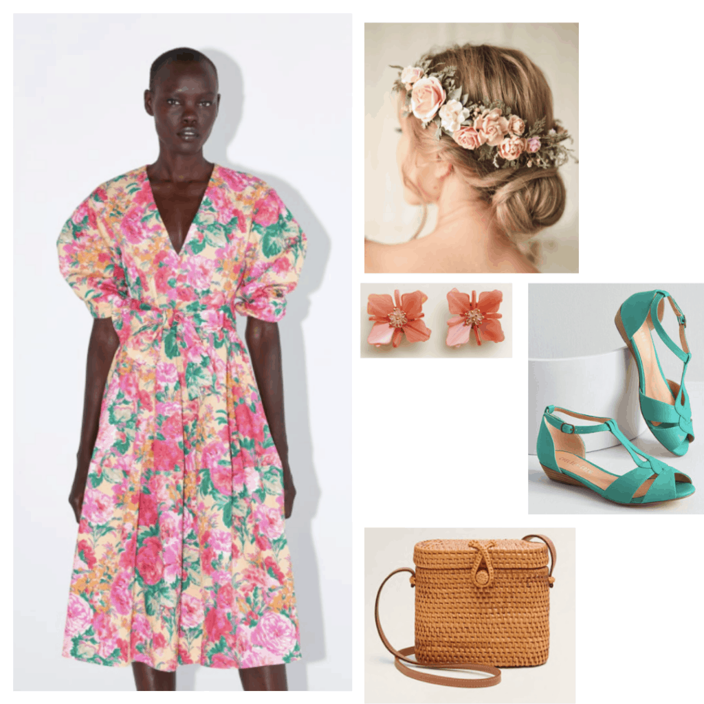 Midsommar movie costumes - fashion inspired by Midsommar with floral dress, floral headpiece, green sandals