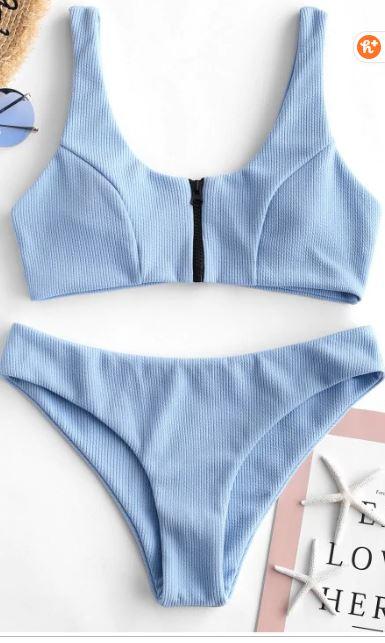 Blue zip-up bikini - best swimwear of 2019