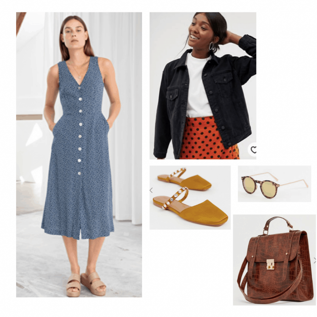 Reality Bites fashion: Outfit inspired by 1990s style with button-front dress featuring floral print, black denim jacket, slip on shoes, sunglasses, satchel bag