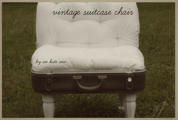 chair made out of vintage suitcase with legs
