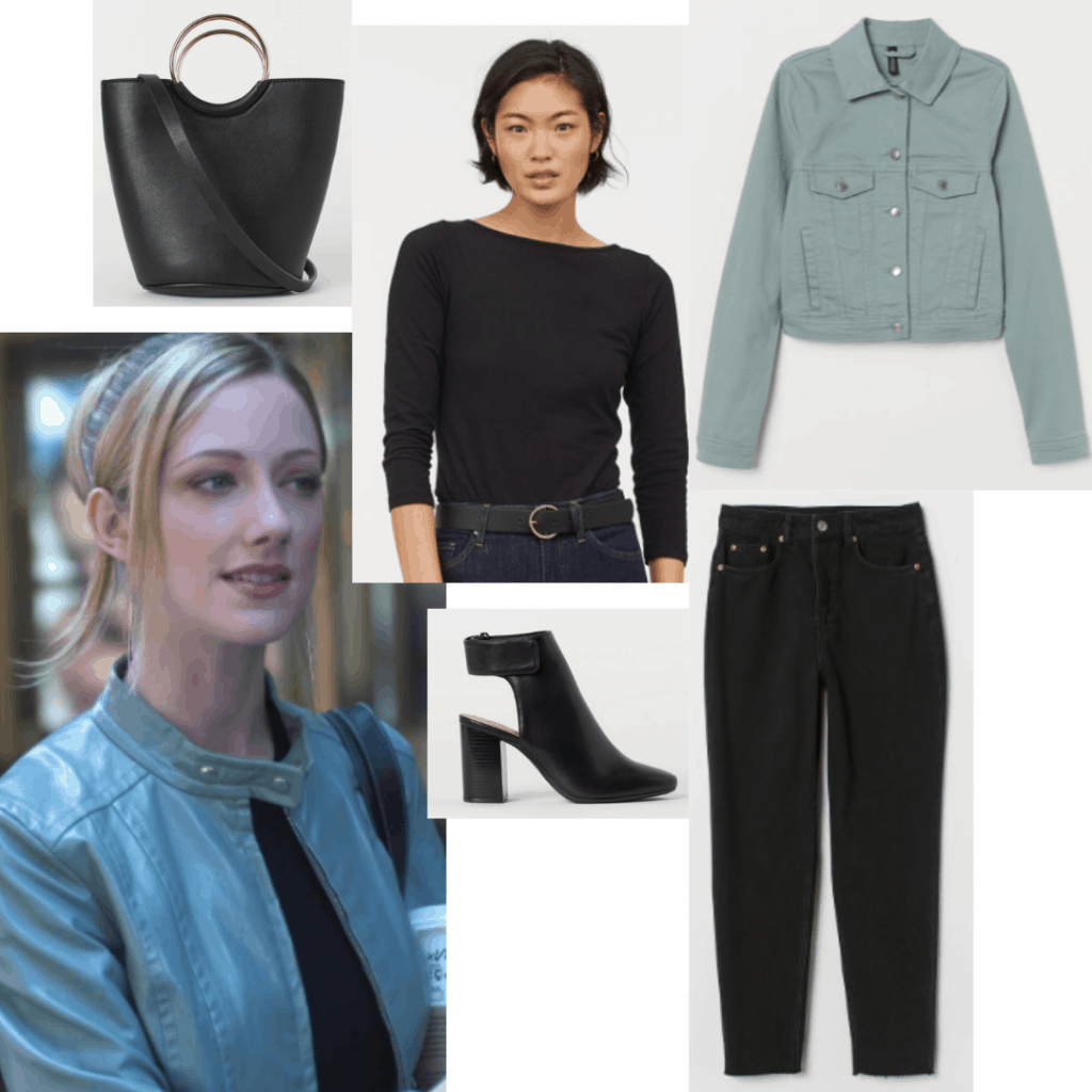 13 going on 30 fashion inspired by Lucy: Outfit with black jeans, black top, black heels, green jean jacket