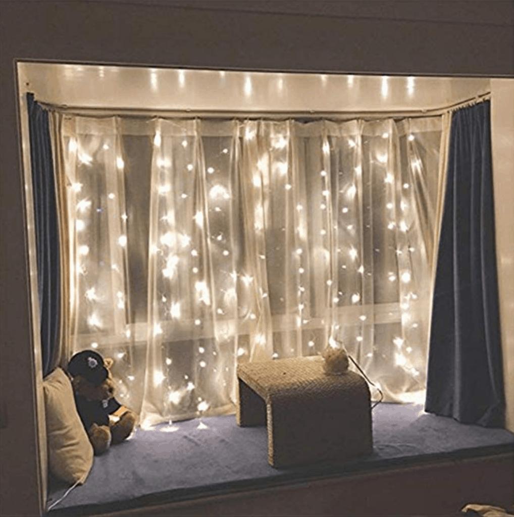 Twinkle string lights in a window from amazon
