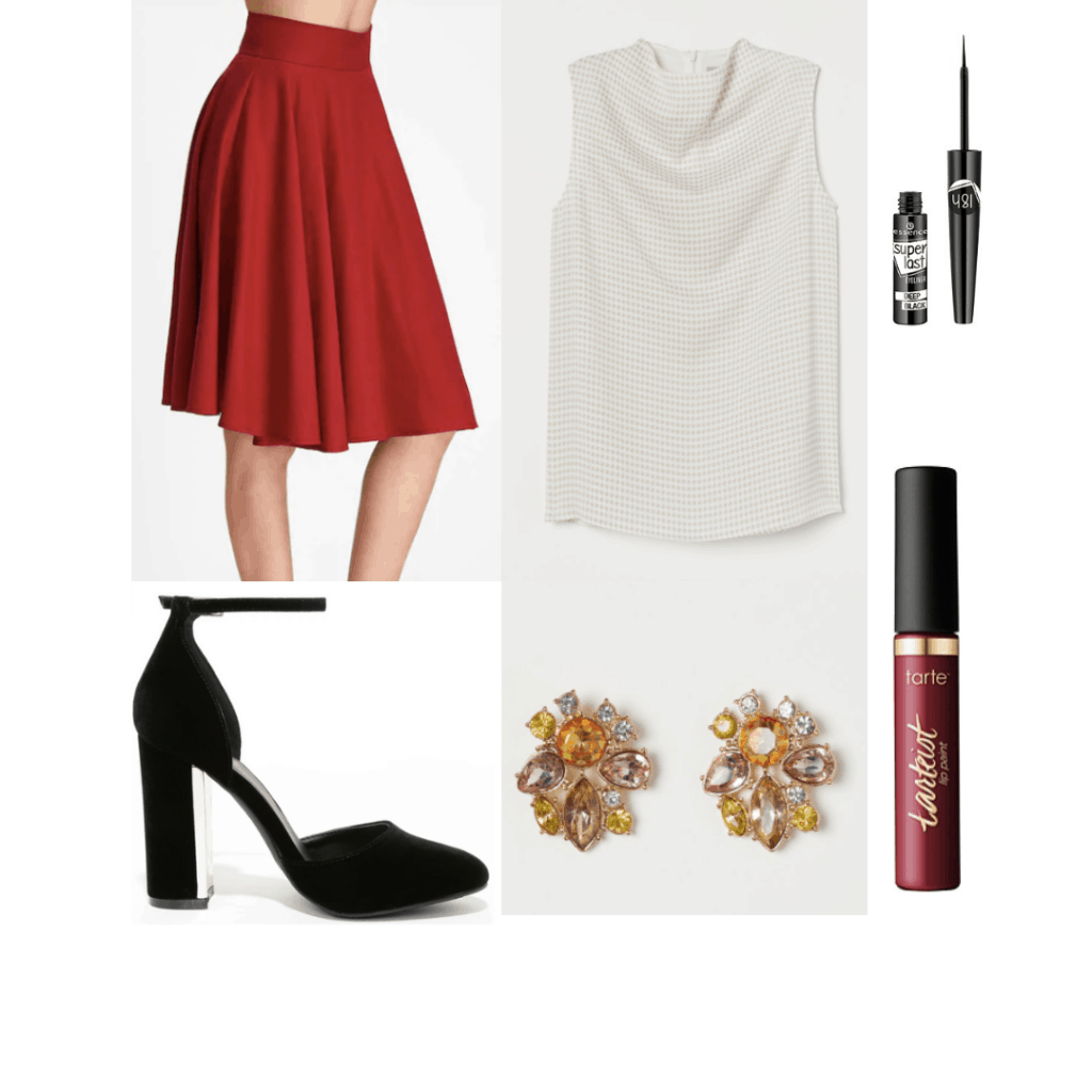 1940s fashion - outfit inspired by the 40s with swing skirt, high neck top, suede shoes, jeweled earrings