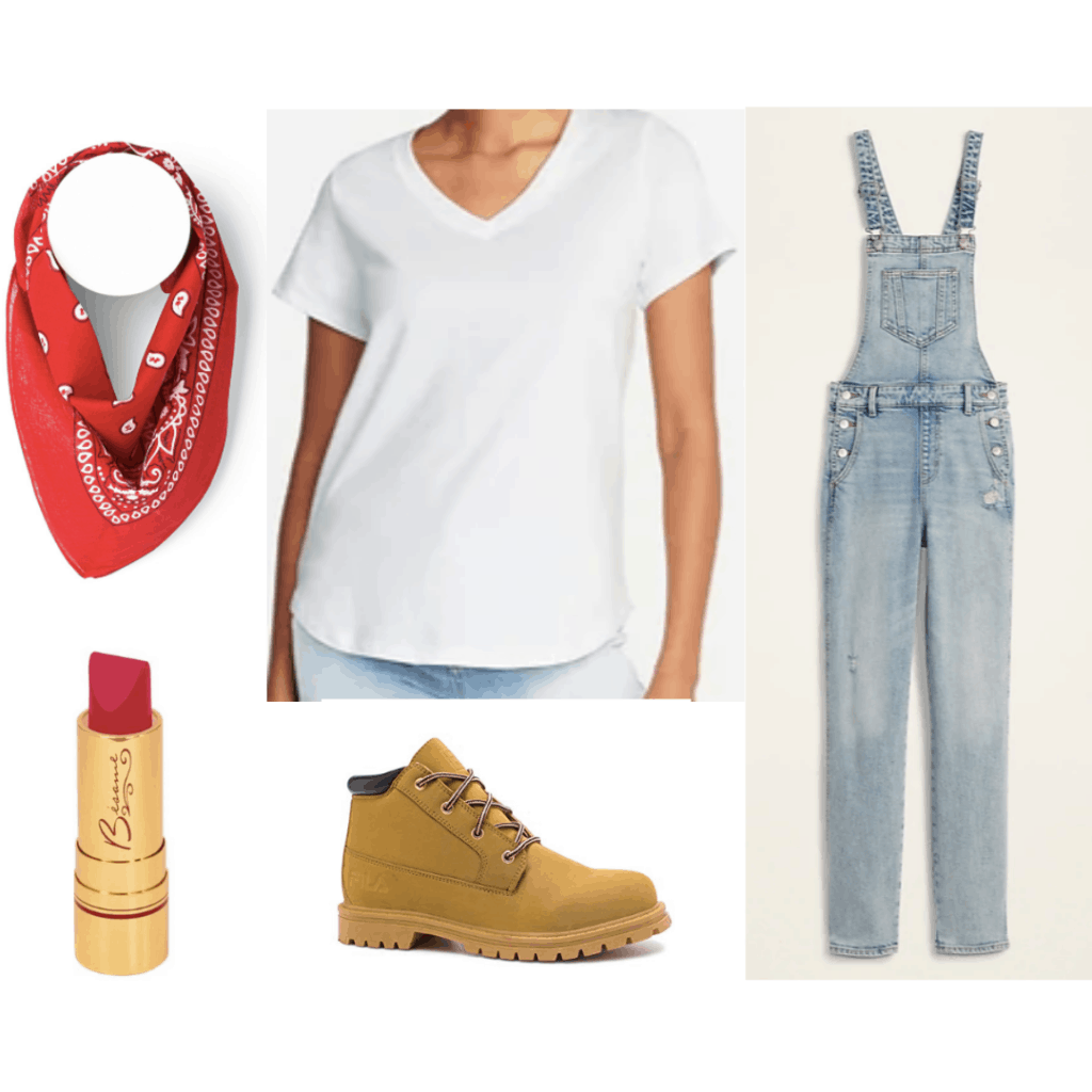 1940s fashion - outfit inspired by Rosie the Riveter with white tee shirt, overalls, lipstick, red bandana, work boots
