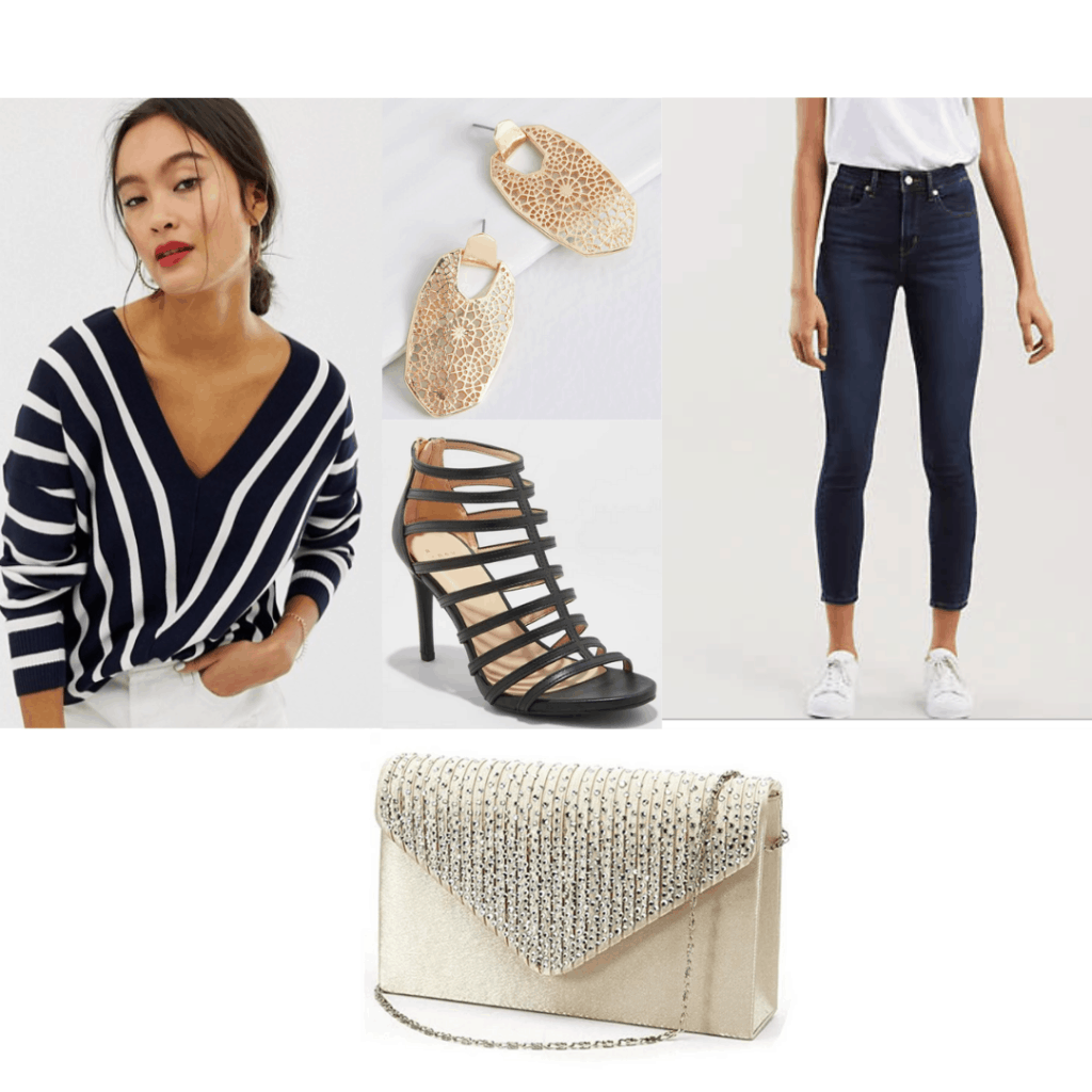 1930s fashion - outfit inspired by the 30s with Striped sweater, skinny jeans, golden jewelry and purse, strappy heels