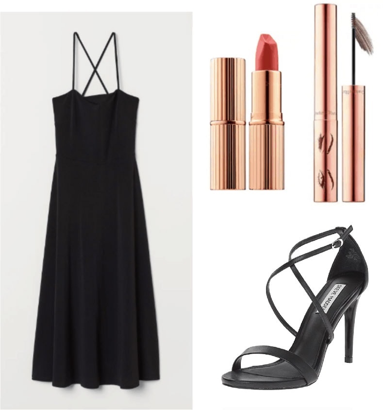 1930s fashion outfit with little black dress, simple strappy heels, lipstick and brow gel