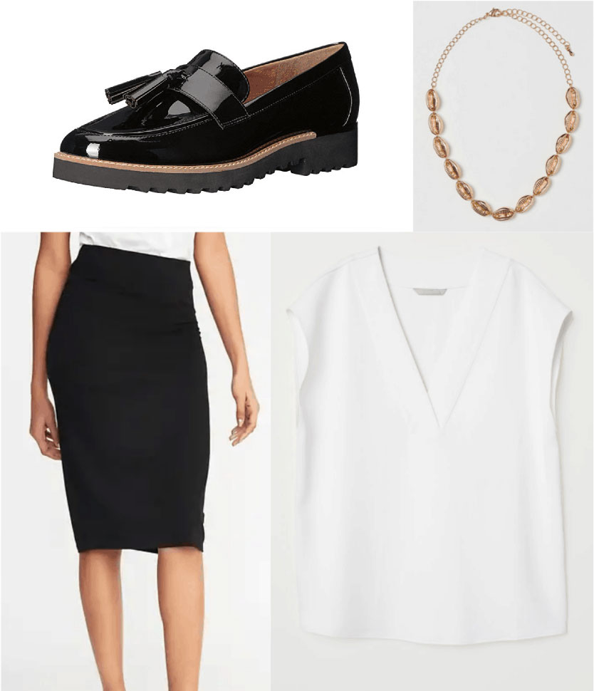 1930s fashion - outfit inspired by the 1930s with chunky loafers, pencil skirt, loose blouse, necklace