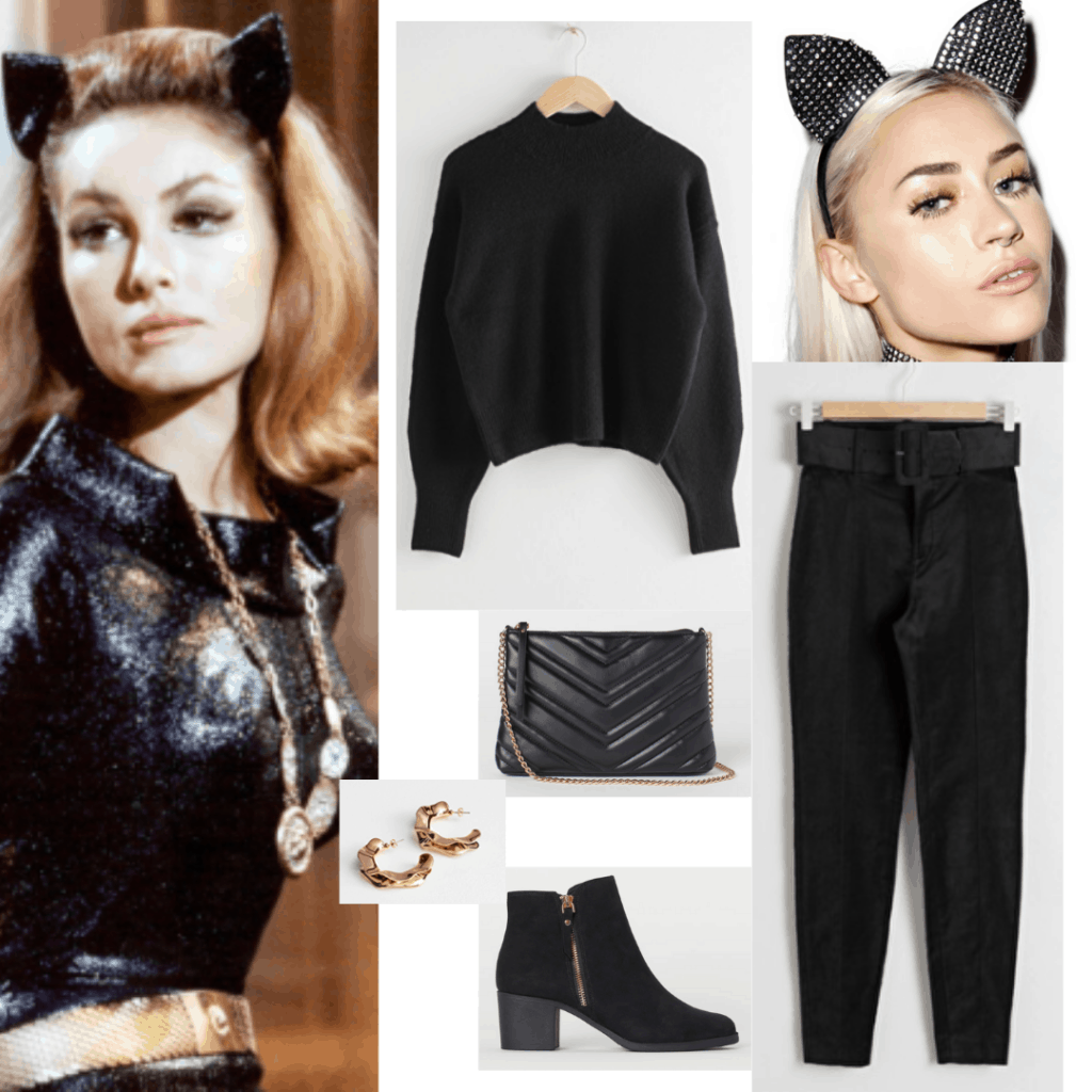 Outfit inspired by 1960s catwoman with black pants, black jumper, black purse and boots