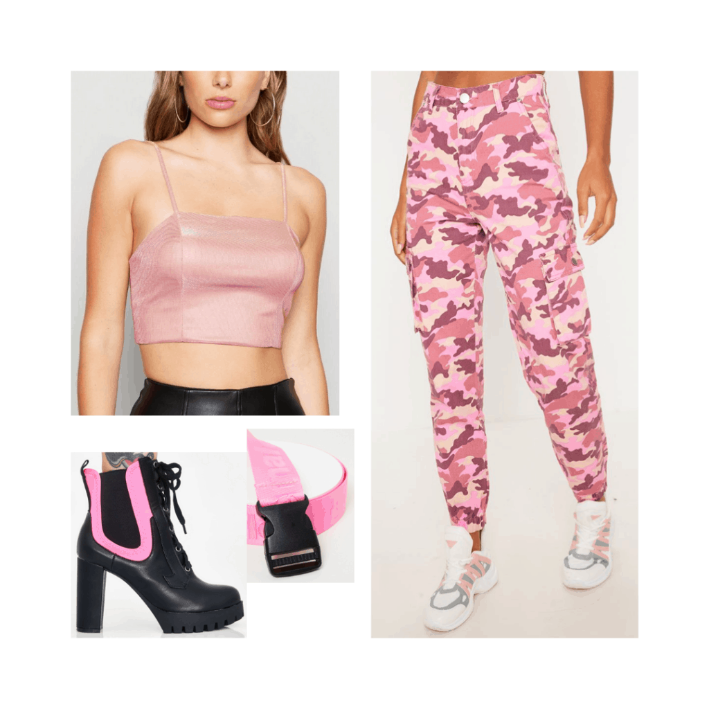 What to wear to an Ariana Grande concert - cute outfit idea with camo pants, pink boots, crop top