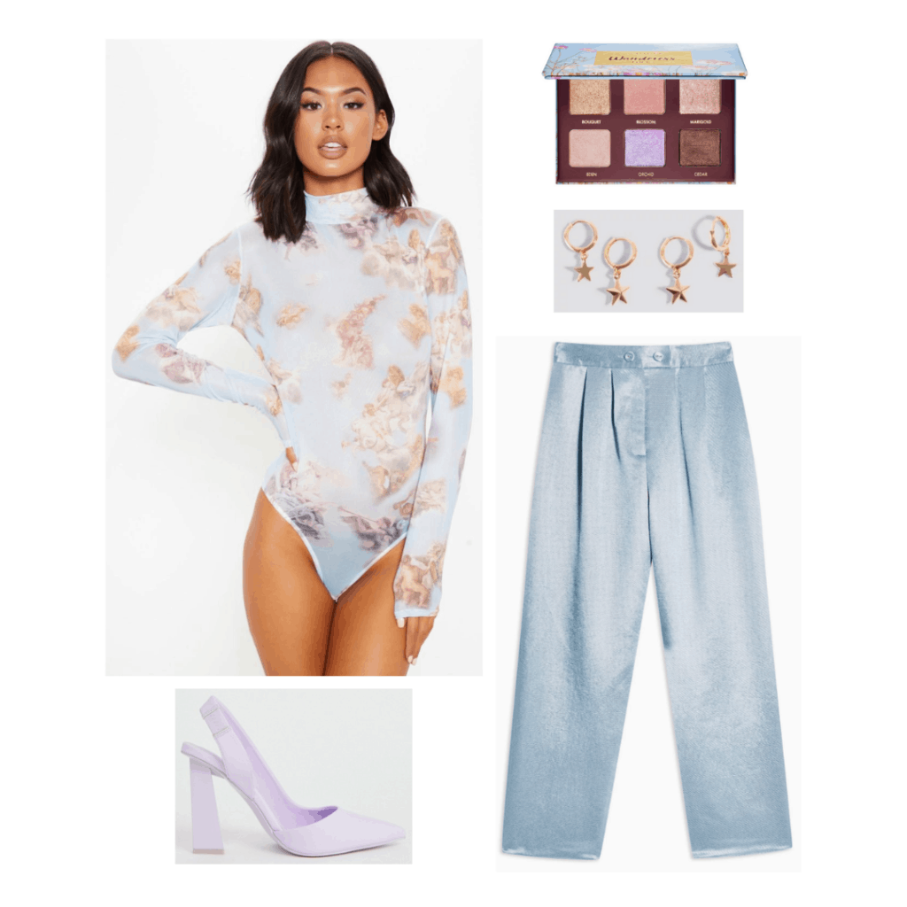 Ariana Grande sweetener world tour outfit with floral bodysuit, light wash jeans, purple heels