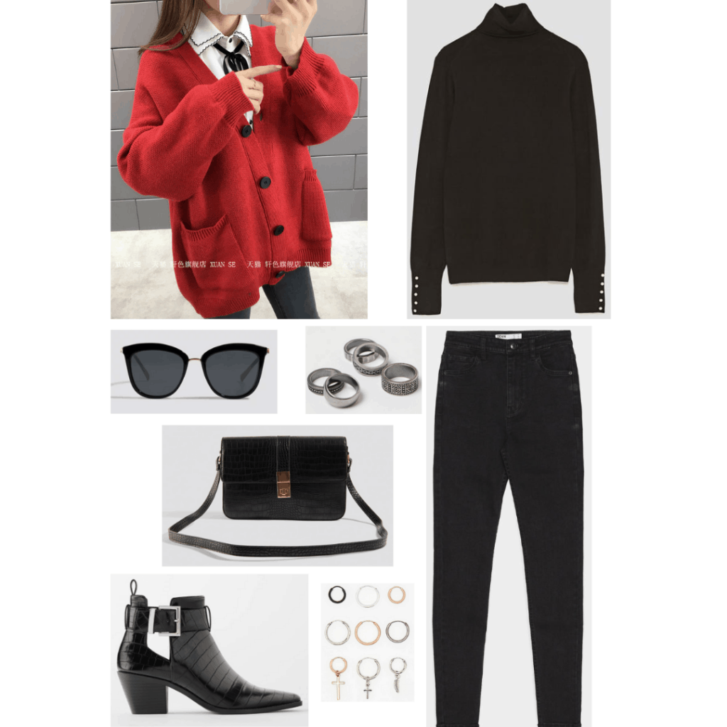 BTS Jimin airport style outfit with red cardigan, black jeans, black ankle boots