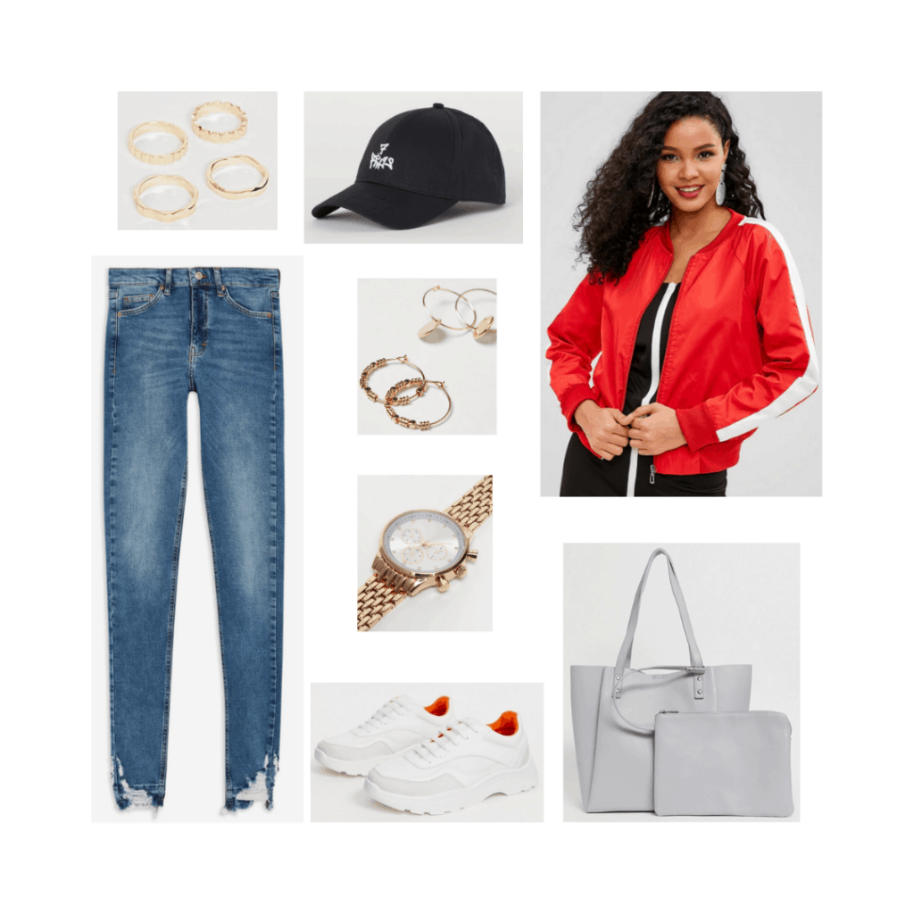 BTS airport outfit inspired by Jimin's style with ripped jeans, white platform sneakers, red bomber jacket