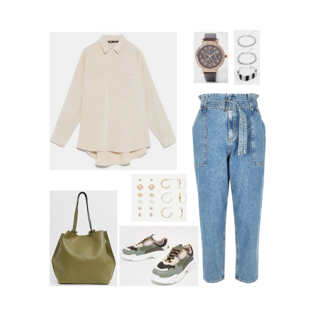BTS airport fashion - outfit inspired by Namjoon with paper bag waist jeans, oversized shirt, green bag, dad sneakers