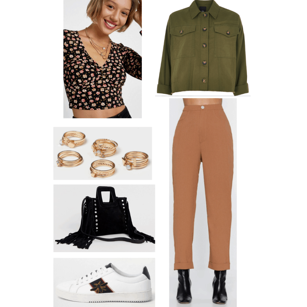 Taehyung airport outfit with tan pants, green button-down shirt, sneakers