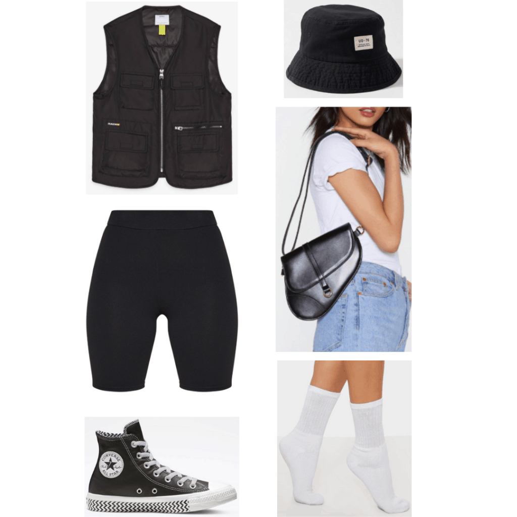 Suga BTS airport outfit with black bucket hat, black zip front vest, bike shorts, converse, saddle bag