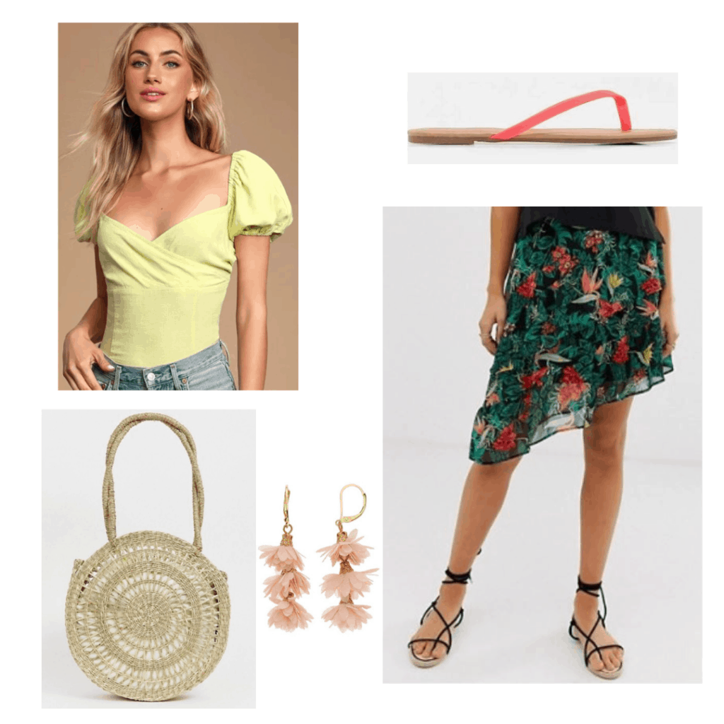 Persephone outfit; lime green blouse, floral skirt, flip flops, basket bag, and earrings.