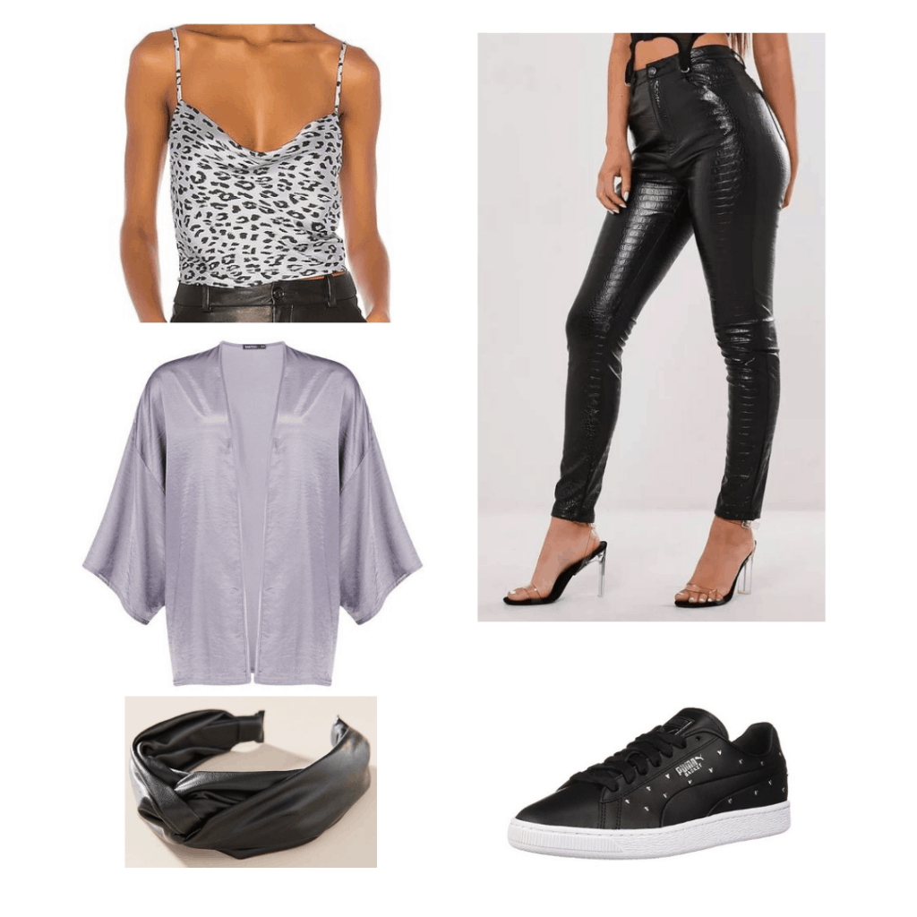 The Fates outfit; short grey kimono coat, grey leopard tank top, leather jeans, leather headband, leather sneakers.