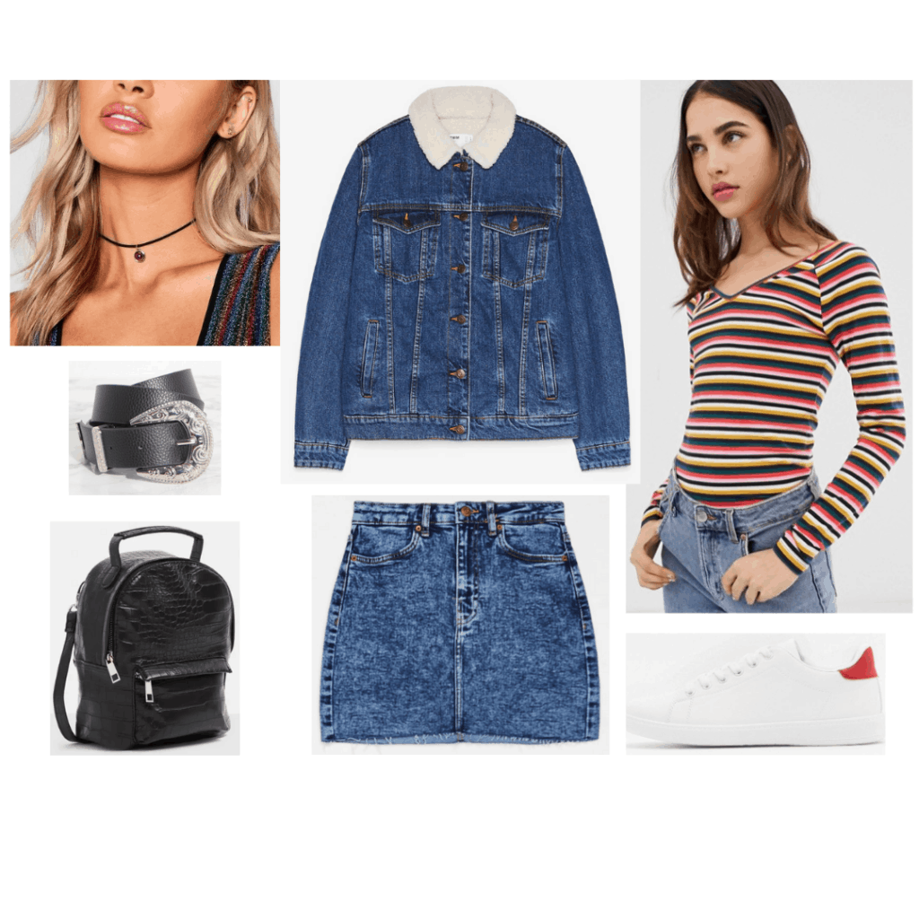 Outfit inspired by Erin on Derry Girls with acid wash denim skirt, denim jacket, striped tee