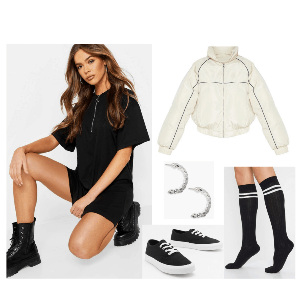 Derry Girls Michelle style - outfit with black dress, knee high socks, white zip jacket, vans sneakers