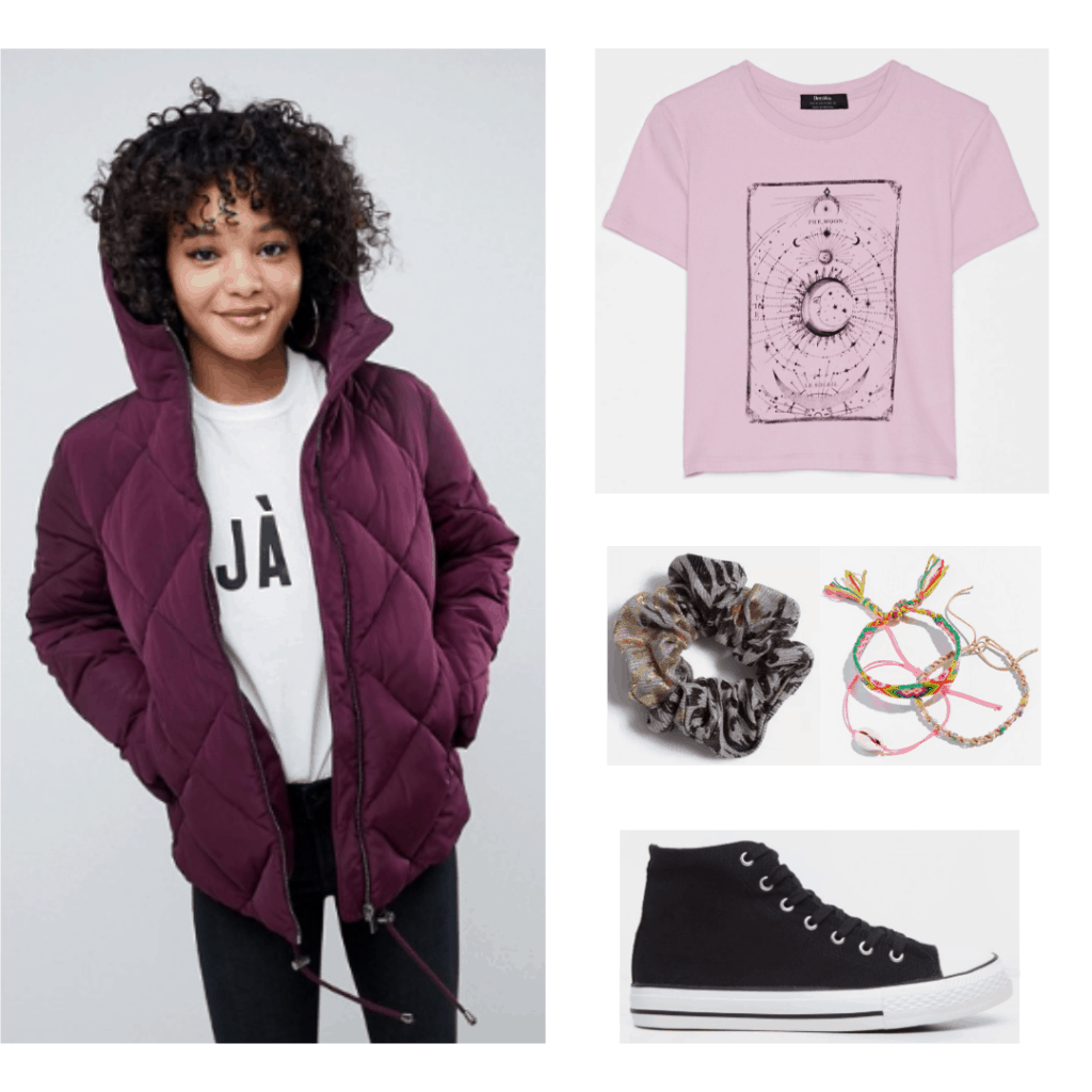 Derry Girls Orla style outfit with quilted jacket, tee shirt, scrunchie, sneakers