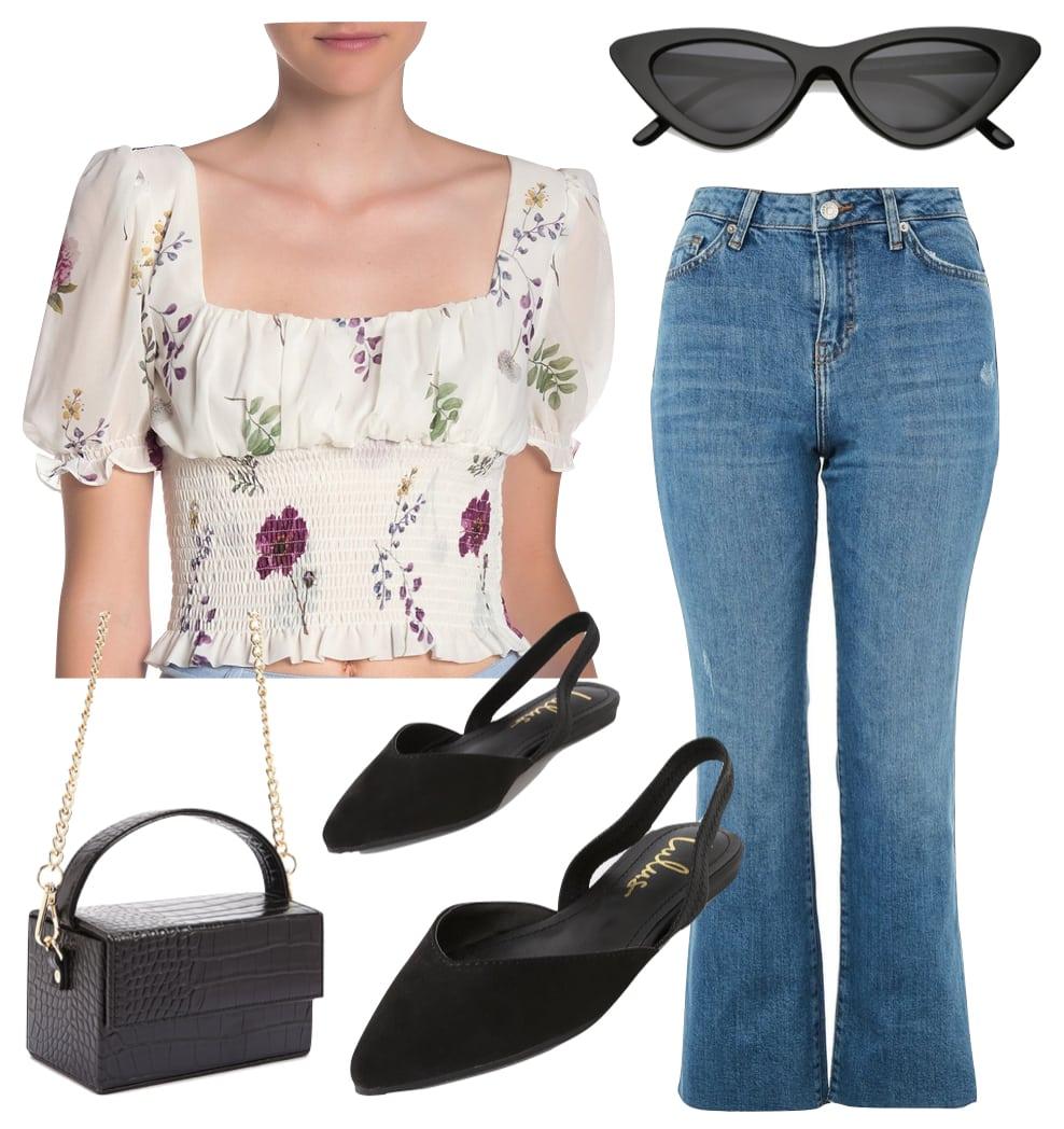 Emma Roberts Outfit: floral smocked puff sleeve top, cropped kick flare jeans, black square crocodile handbag, black slingback flats, and black cat eye sunglasses