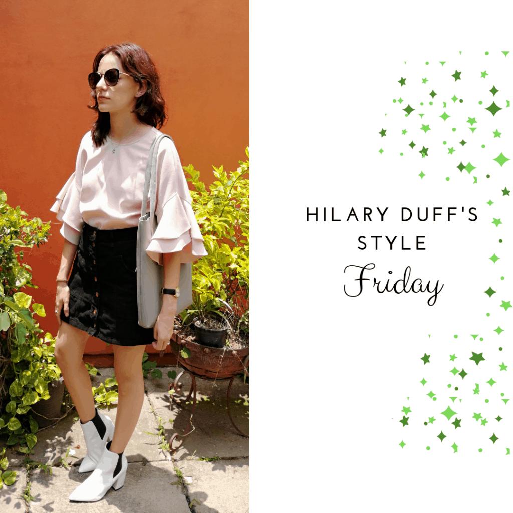 Hilary Duff's Style Friday: pink shirt, black skirt, white booties
