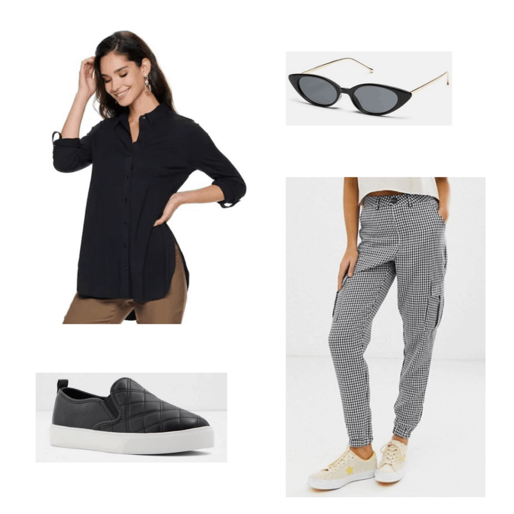 Hades outfit; black blouse, checkered cargo pants, sunglasses, sneaker flats.