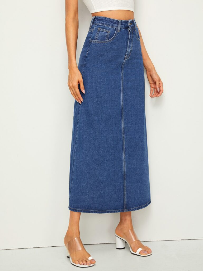 A long jean skirt from Romwe