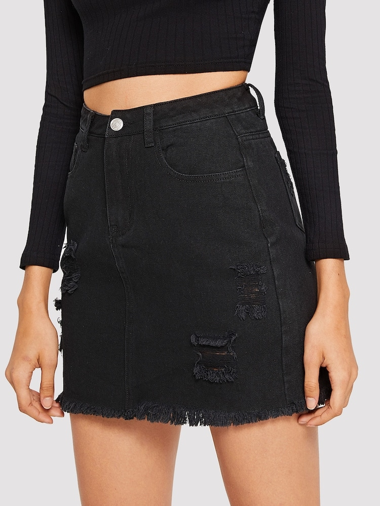 A black jean skirt from Shein