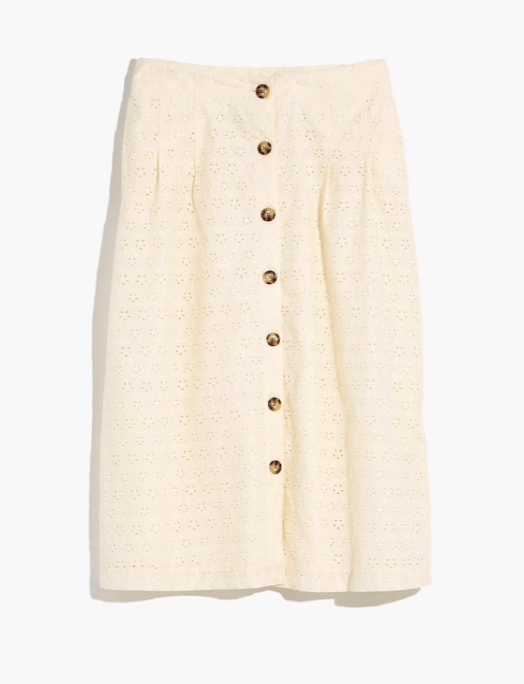 Best fall skirts 2019 - A button up peasant midi skirt from Madewell