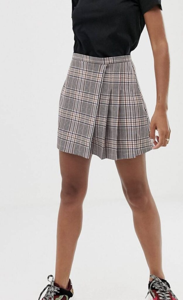 A pleated plaid skirt from ASOS