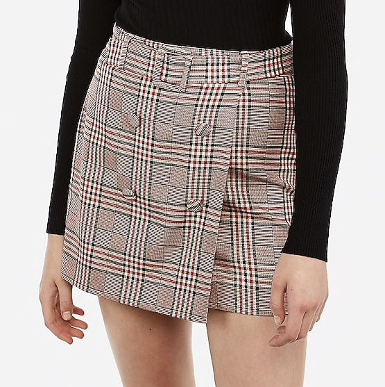 A plaid belted skirt from Express
