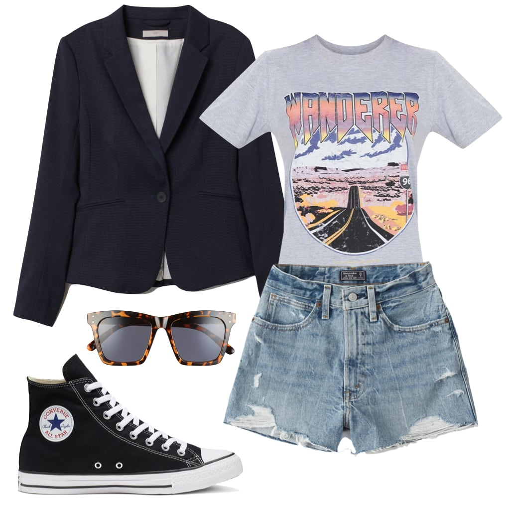 Kaia Gerber Outfit: navy blue blazer, gray graphic print t-shirt, distressed denim shorts, tortoise square sunglasses, and black Converse Chuck Taylor All Star high top sneakers