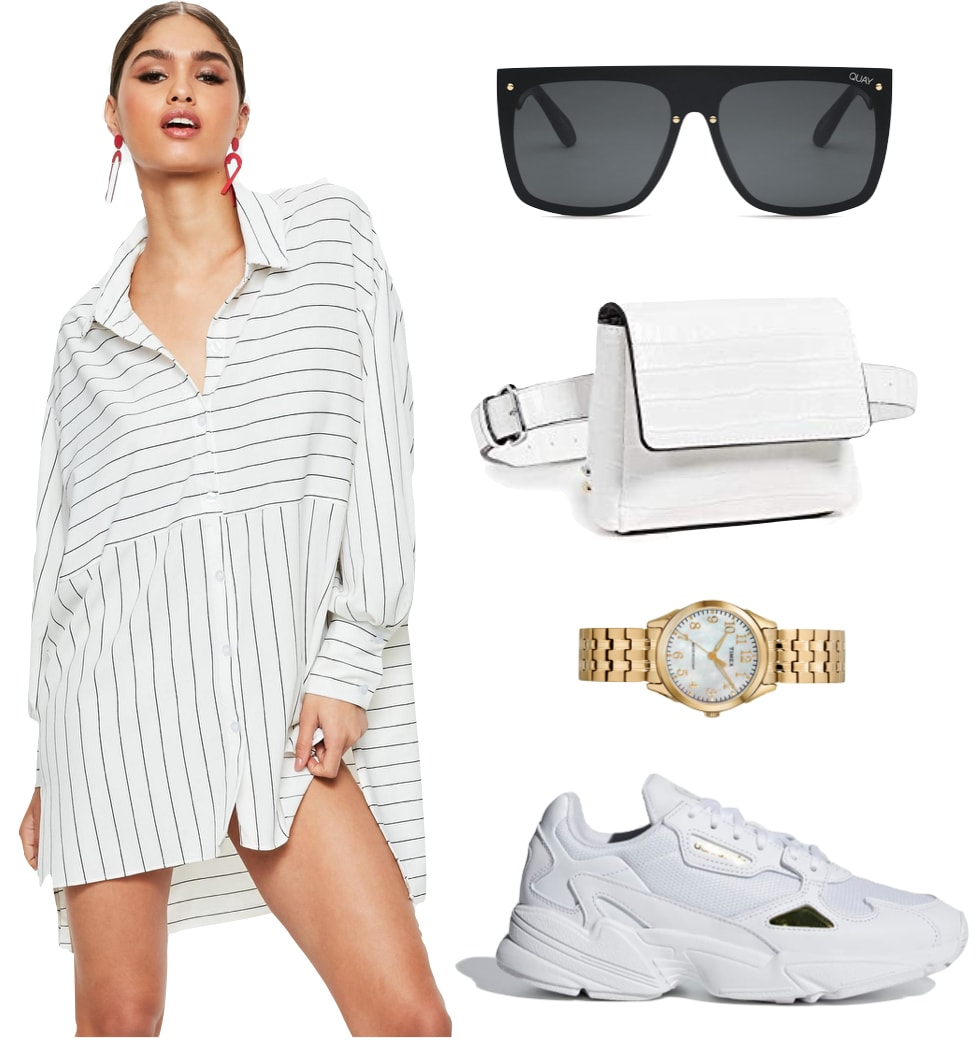 Kylie Jenner Outfit: black and white striped shirt dress, black flat top rimless sunglasses, white crocodile belt bag, gold watch, and chunky white sneakers